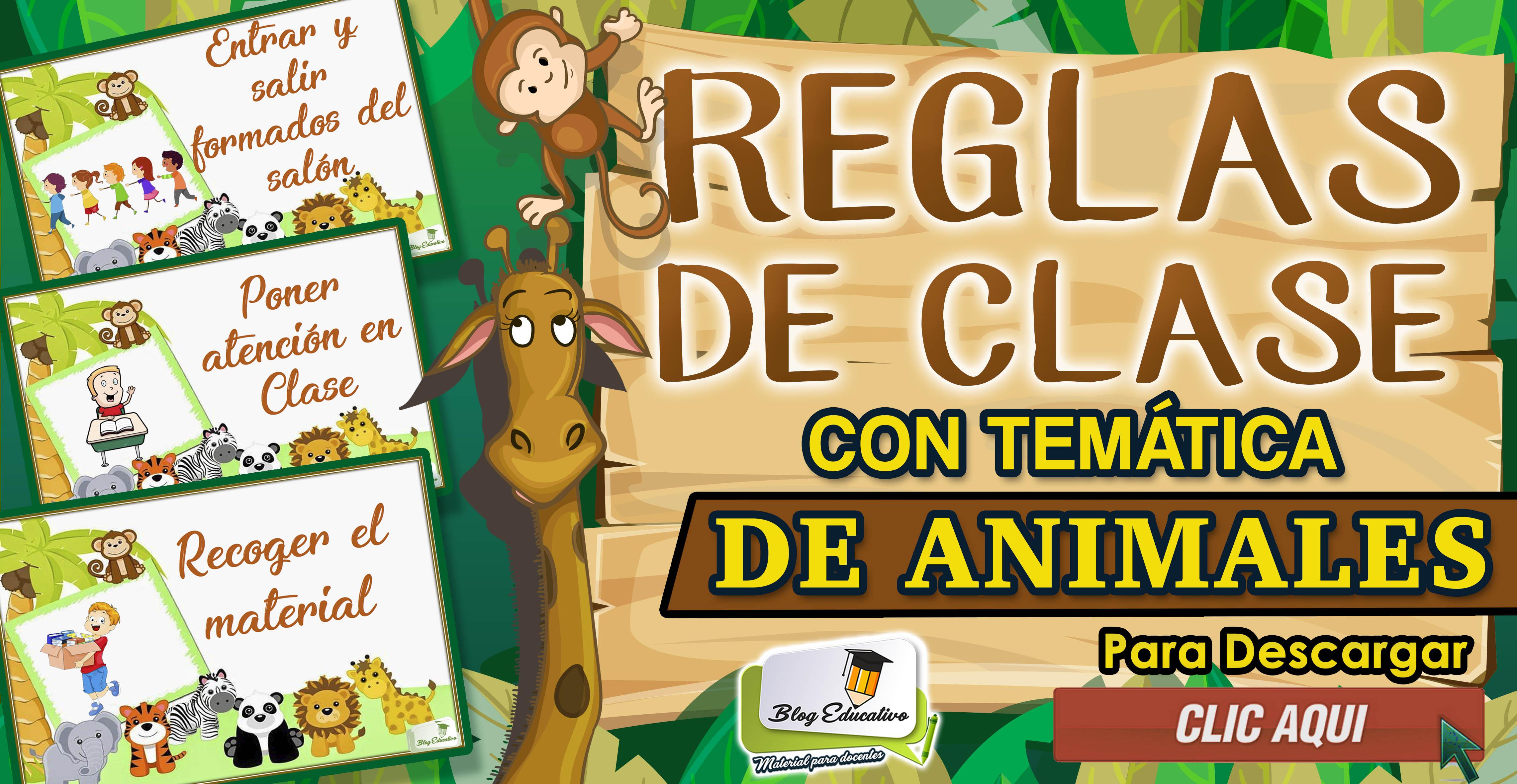 Reglas de clase con temática de animales - Blog Educativo