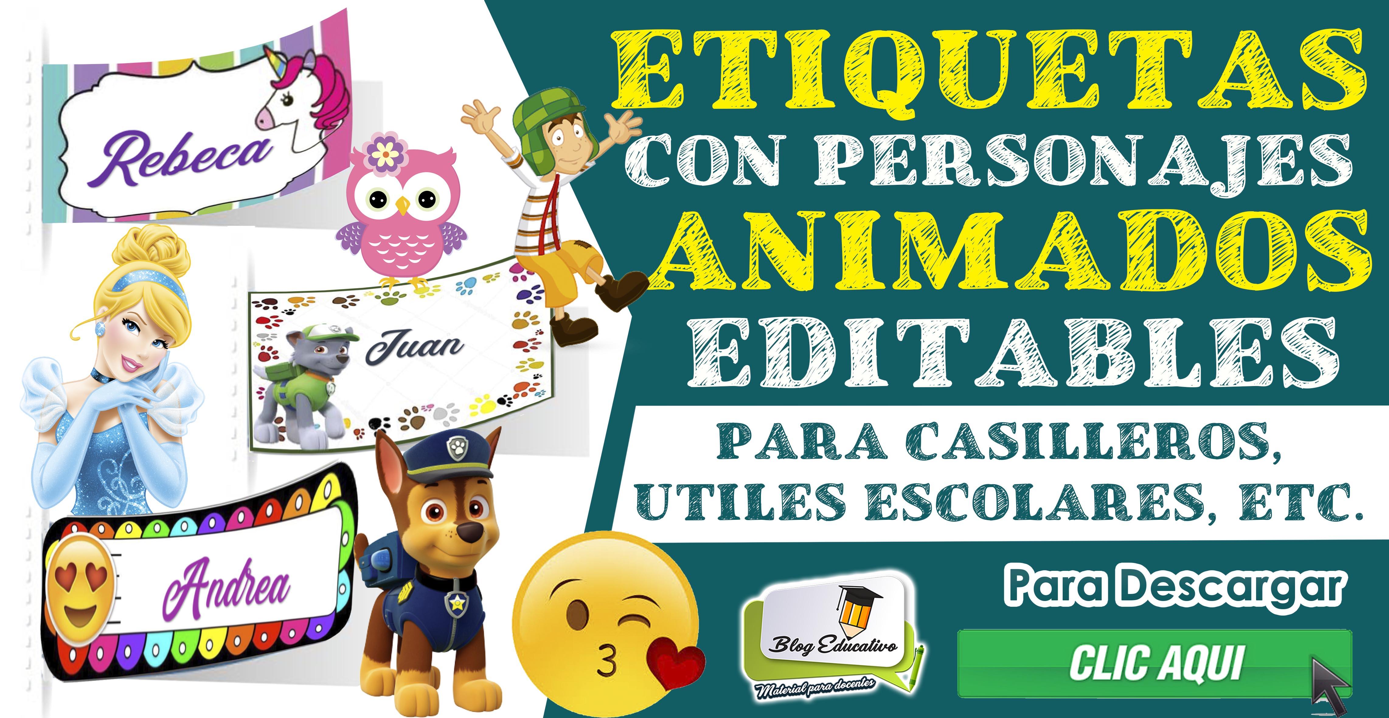Etiquetas con personajes animados - Blog Educativo