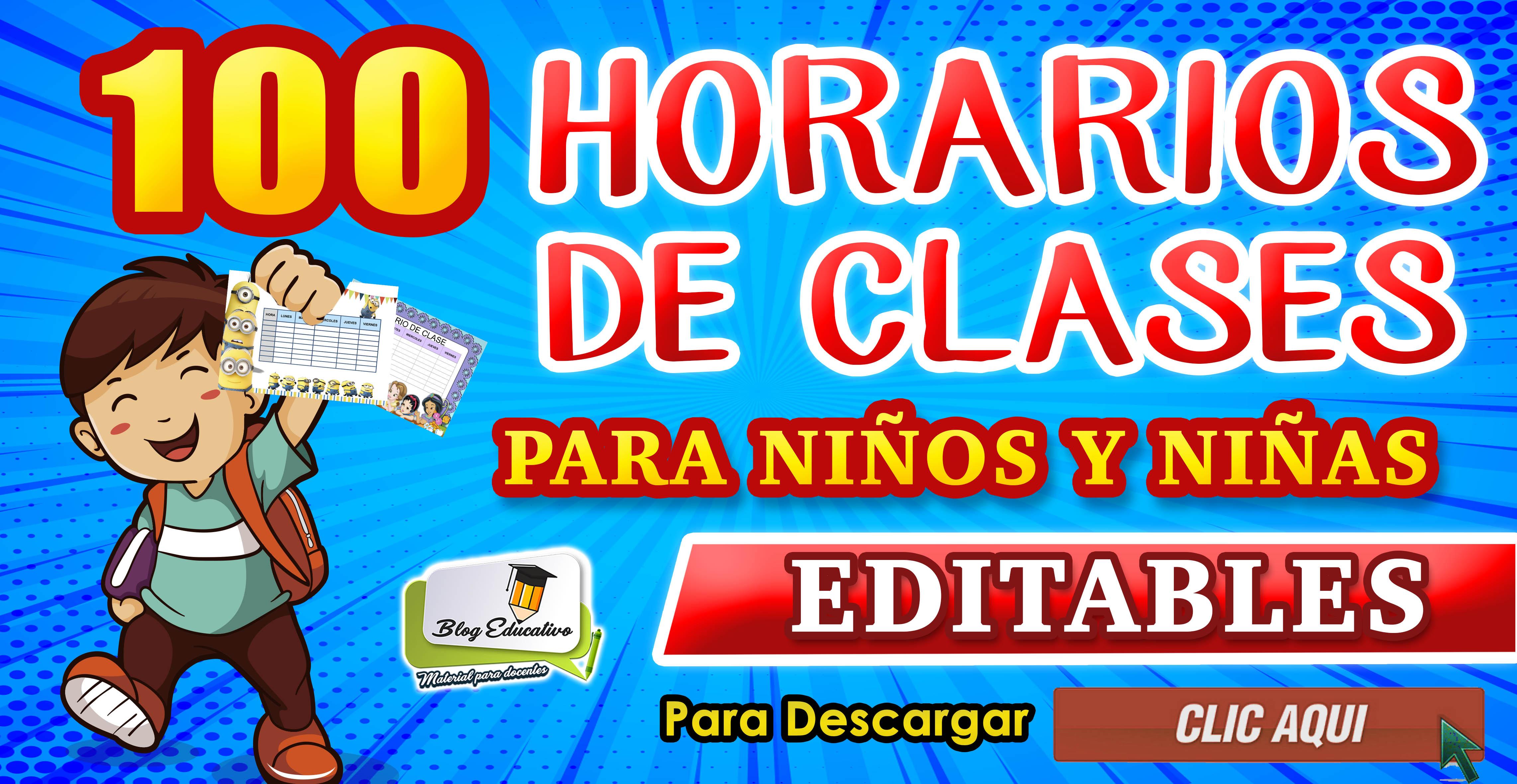 Horarios de clases para niños y niñas Editables gratis