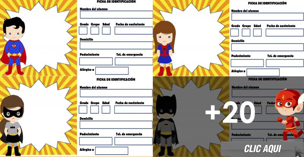 Gafetes Super Héroes – Fichas de identificación