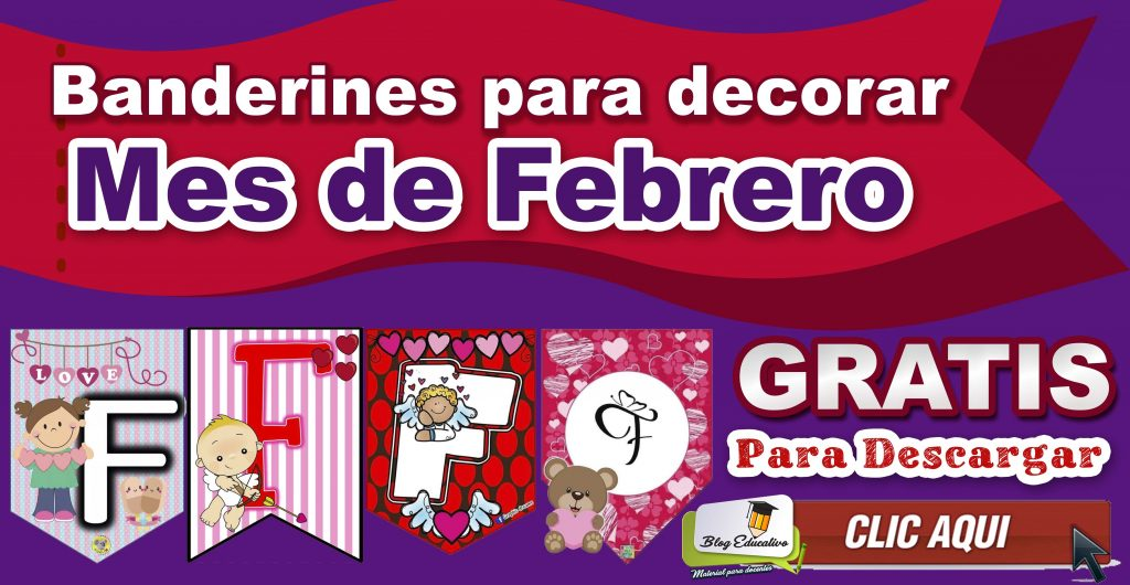 Banderines para decorar – Mes de Febrero