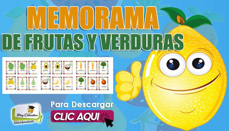 Memorama de Frutas y Verduras gratis - Blog Educativo
